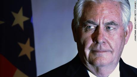 "US Secretary of State Rex Tillerson holds a press conference with Nigeria's foreign minister in Abuja on March 12, 2018.  US Secretary of State Rex Tillerson on March 12 slammed last month's mass abduction of schoolgirls in northern Nigeria and promised Washington's ""full support"" in the country's fight against Boko Haram jihadists. He arrived from Chad, where he also promised support for a state fighting jihadism. His tour, which began last on MArch 7, has also included Ethiopia, Djibouti and Kenya.   / AFP PHOTO / POOL / JONATHAN ERNST        (Photo credit should read JONATHAN ERNST/AFP/Getty Images)"
