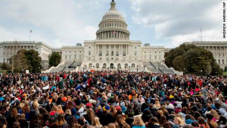 Students rally outside the Capitol Building in Washington, Wednesday, March 14, 2018. Students walked out of school to protest gun violence in the biggest demonstration yet of the student activism that has emerged in response to last month's massacre of 17 people at Florida's Marjory Stoneman Douglas High School. (AP Photo/Andrew Harnik)