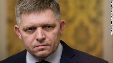 Slovak Prime Minister Robert Fico looks on during a press conference in Bratislava on Wednesday, March 14, 2018.