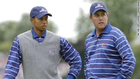 Mickelson and Tiger Woods were paired together in an ill-fated partnership at the 2004 Ryder Cup.