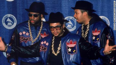 Jam Master Jay (Jason Mizell), Joe 'Run' Simmons and Darryl 'DMC' McDaniels at the Grammy Awards in the 1980s.