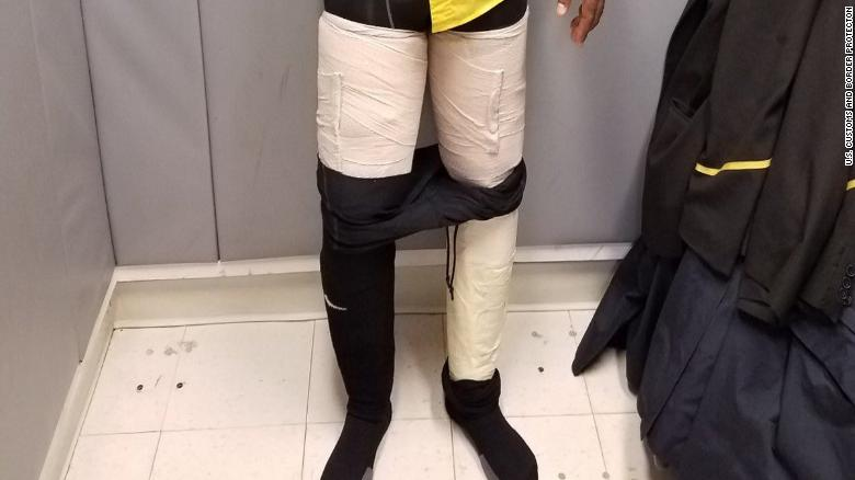 Customs: Airline crew member had 9 pounds of cocaine taped to legs