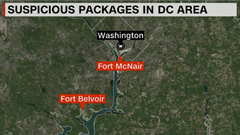 Suspicious packages sent to military bases in DC area, US