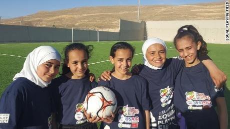 "Kids at football camp in Petra. None had ever played before and said playing that day made them ""so happy."""
