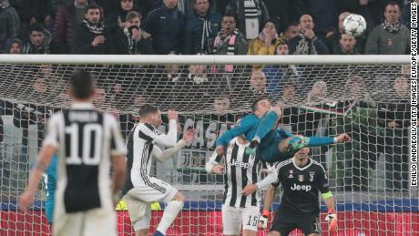 Ronaldo scores for Real Madrid against Juventus in last season's Champions League.