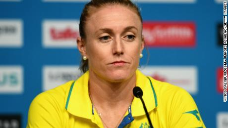 Sally Pearson of Australia announcing her withdrawal from the Commonwealth Games in a press conference.