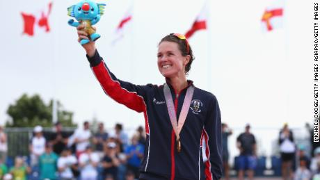 Gold medalist Flora Duffy of Bermuda celebrates during the medal ceremony for the women's triathlon.
