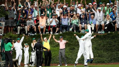 Jack Nicklaus' grandson makes a hole-in-one in the Masters par-three tournament.