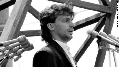 A young Viktor Orban gives a speech in 1989, calling for the end of Soviet occupation.