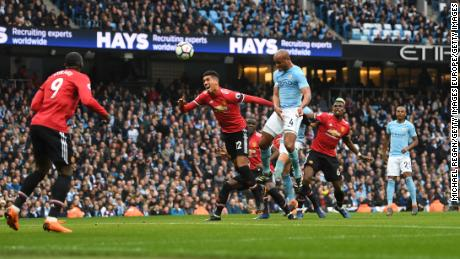 City captain Vincent Kompany gave the home side the lead with an unstoppable header.