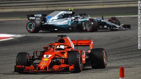Sebastian Vettel was held off the challenge of Valtteri Bottas to win.