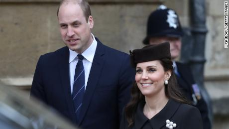 William Duke of Cambridge and his wife Catherine attend an Easter service in Windsor on April 1