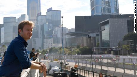 Former F1 world champion Nico Rosberg stands trackside at the Hong Kong ePrix.