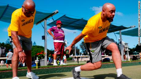 Jamaica's Andrew Newell and Melvyn Edwards compete for Jamaica in the lawn bowls.
