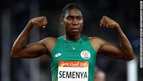 South Africa's Caster Semenya celebrates her commanding victory in the women's 1500m final.
