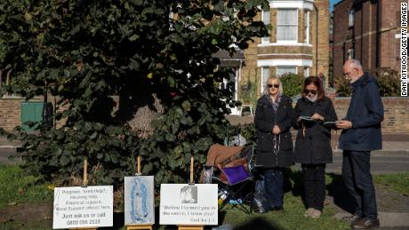 Anti-abortion protesters hold a demonstration outside the Marie Stopes clinic in London in 2017.