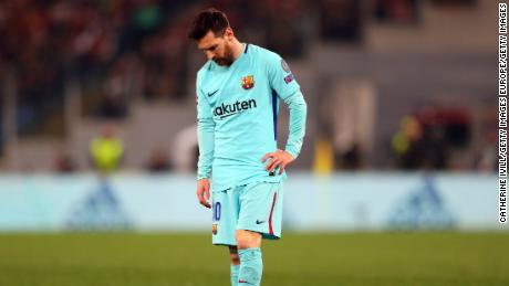 A dejected-looking Lionel Messi of FC Barcelona during the UEFA Champions League quarterfinal.