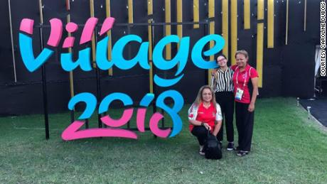 Caroline Dubois with her daughter and sister at the athletes' village.