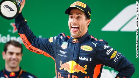 Daniel Ricciardo celebrates his victory in the Chinese Grand Prix.