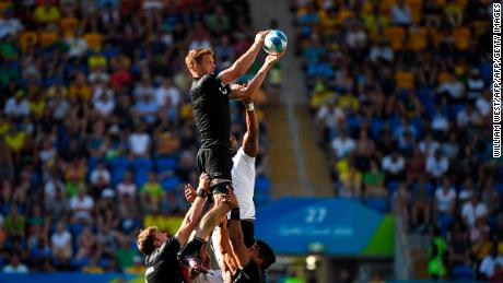 New Zealand captain Scott Curry rises high in a lineout.
