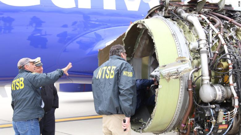 The National Transportation Safety Board is onsite inspecting a Southwest airline plane after engine failure caused the plane to make an emergency landing at Philadelphia International Airport
