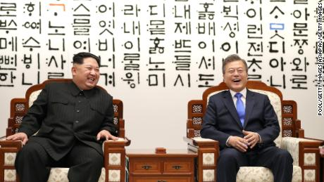 North Korean leader Kim Jong Un and South Korean President Moon Jae-in at the inter Korean summit in April