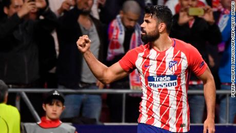 Diego Costa celebrates his winning goal which put Ateltico Madrid in the Europe League final.