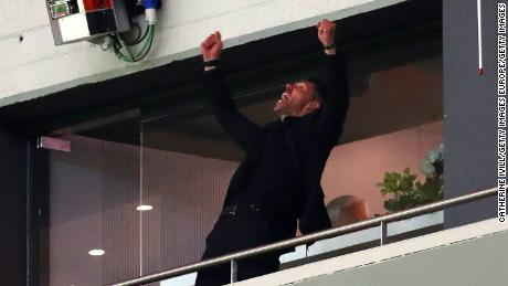 Atletico Madrid coach Diego Simeone celebrates as his side reaches the Europa League final.