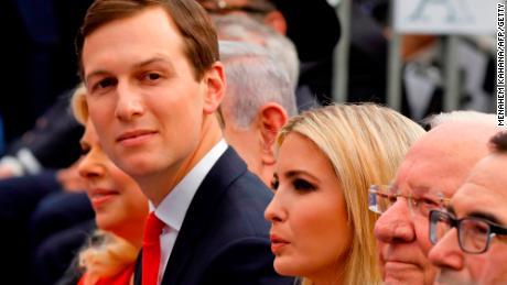 Jared Kushner (C), Ivanka Trump (C-R), US Treasury Secretary Steve Mnuchin (R) and US ambassador to Israel David Friedman (2nd R).
