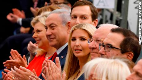 Israel's Prime Minister Benjamin Netanyahu (2nd L), his wife Sara Netanyahu (L), Jared Kushner (3rd L), Ivanka Trump (C), US Treasury Secretary Steve Mnuchin (R) and US ambassador to Israel David Friedman (2nd R).