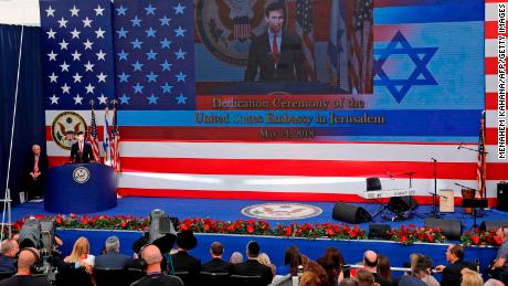 Kushner delivers a speech during the opening of the US Embassy in Jerusalem on Monday.