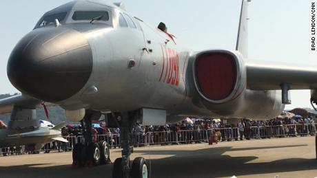 A Chinese H-6K bomber on display at Airshow China in 2016.