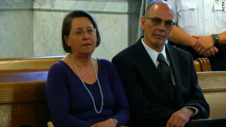 Christina and Mark Rotondo sit in the courtroom during the proceedings