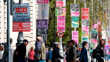 Posters for both campaigns on a lamppost in Dublin, Ireland.