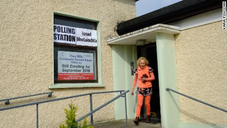 A voter outside a polling station in Ireland's County Kerry.