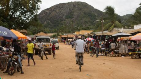 A main street in the Mozambican city of Montepuez. The town is called