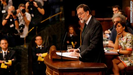 Mariano Rajoy speaks Friday in the Spanish parliament ahead of the no confidence vote.