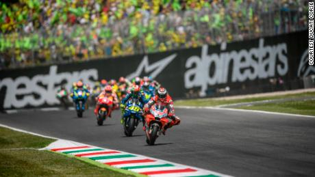 Lorenzo leads at the Mugello circuit at the Italian MotoGP.