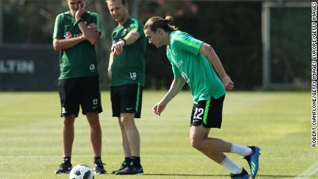 Duncan oversees an Australia training session in Turkey ahead of the World Cup.