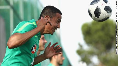 Tim Cahill heads the ball during a training session in Antalya, Turkey in May.