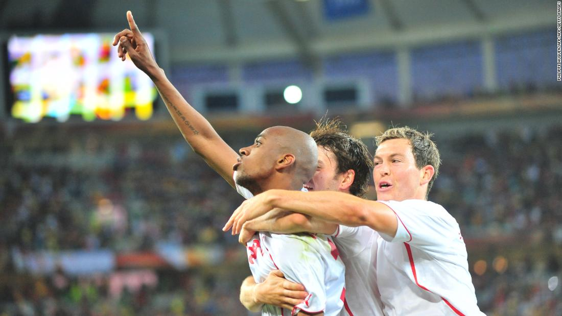 No. 2 Switzerland 1-0 Spain 2010Switzerland's midfielder Gelson Fernandes celebrates with teammates after scoring the only goal of the second biggest World Cup upset in history. Spain would however recover to win the tournament held in South A