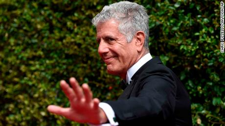 Anthony Bourdain arrives at the Creative Arts Emmy Awards at the Microsoft Theater on Saturday Sept. 12 2015 in Los Angeles