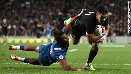 New Zealand's Rieko Ioane scores against France at Eden Park in Auckland.