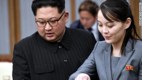 North Koraen leader Kim Jong Un and his sister Kim Yo Jong attend the Inter-Korean Summit in 2018 in this file photograph