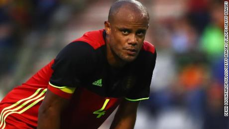 Kompany looks on during Belgium's friendly match against the Czech Republic.