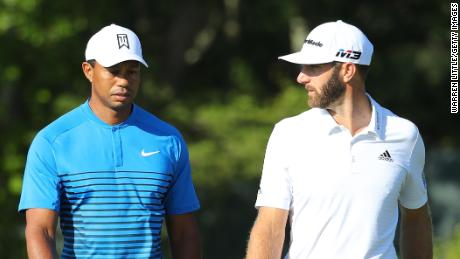 Tiger Woods (left) will play with world No.1 Dustin Johnson in the first two rounds of the US Open.