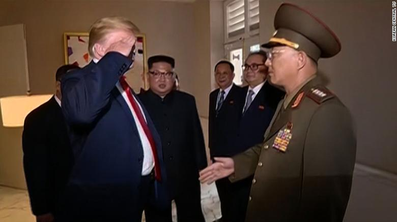 State TV Shows President Trump Saluting North Korean Officer During Summit