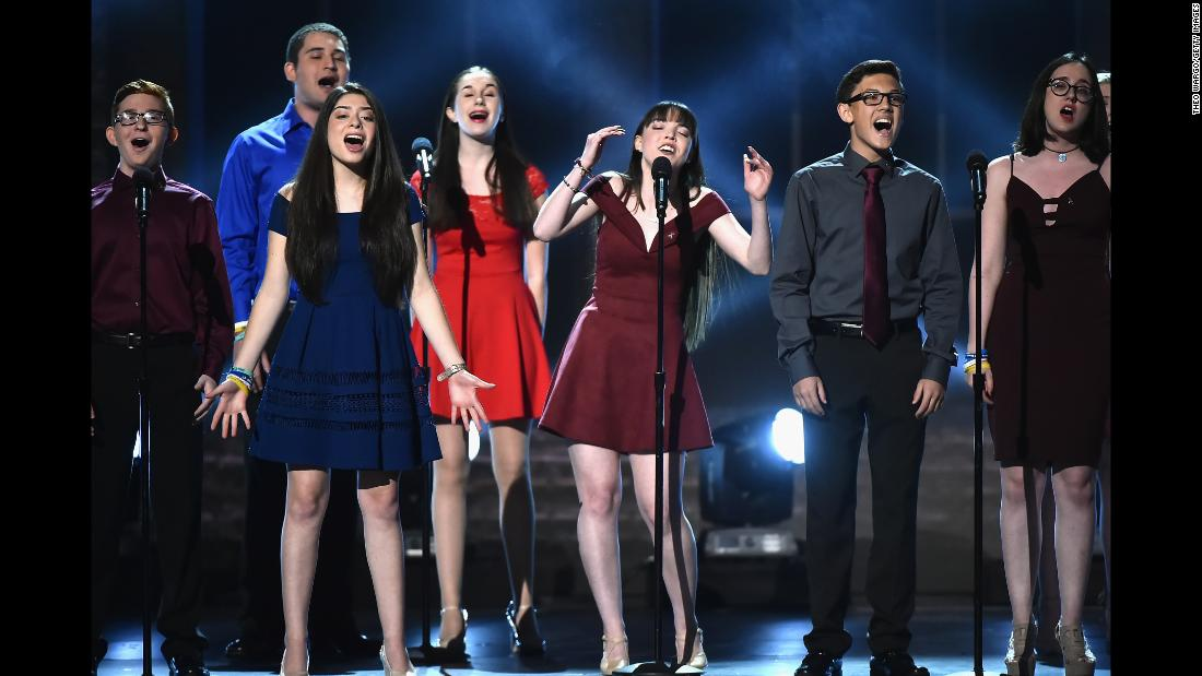 "Drama students from Marjory Stoneman Douglas High School sing ""Seasons of Love""  during the Tony Awards  on Sunday, June 10. Their school was the site of  a mass shooting  that left 17 people dead earlier this year."