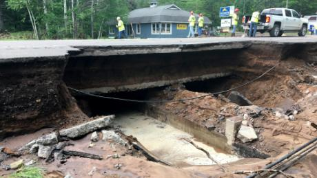 Michigan Department of Transportation images show damage caused by the flooding in the Houghton area.
