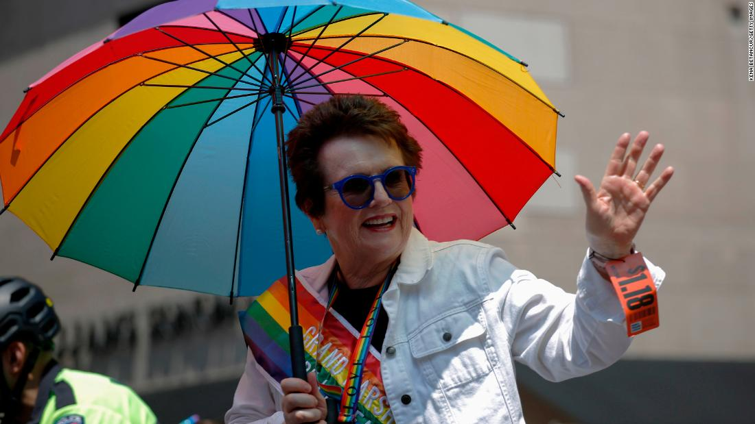 Tennis great Billie Jean King serves as grand marshal of the march in New York on Sunday.